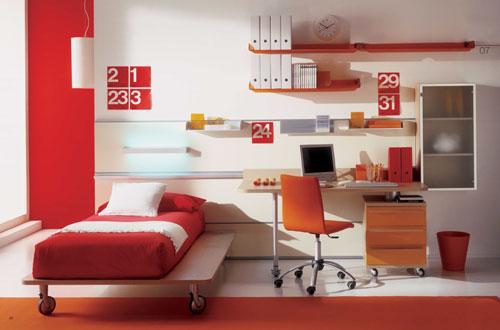 детская комната в красных цветах 2