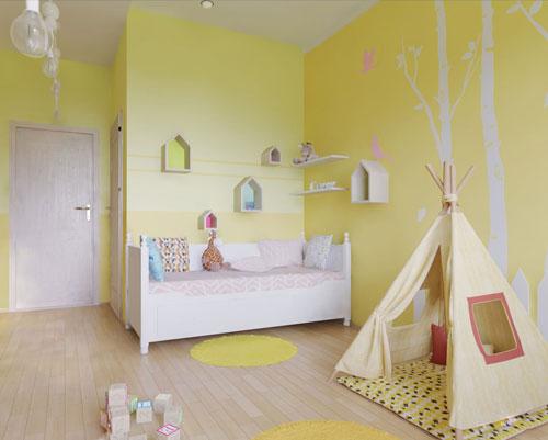 детская комната в желтых цветах