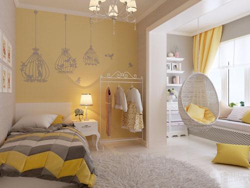 детская комната в желтых цветах 4