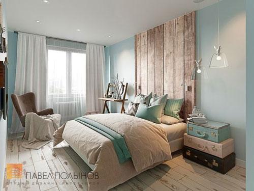 фото интерьера спальни в скандинавском стиле с деревянной кроватью 2