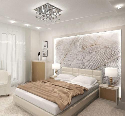интерьер спальни в современном стиле в светлых тонах 10