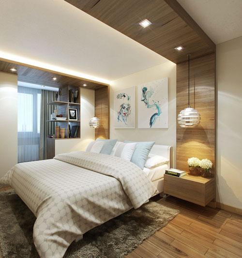 интерьер спальни в современном стиле в светлых тонах 2
