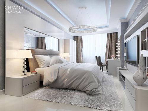 интерьер спальни в современном стиле в светлых тонах 8