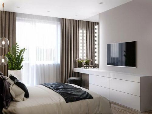 теливизор в спальни в современном стиле 2