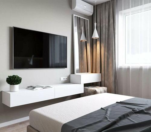 теливизор в спальни в современном стиле