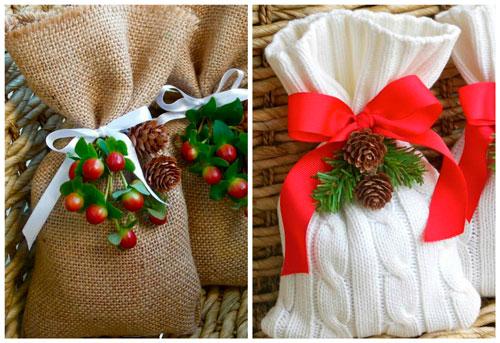 упаковка подарка на новый год в мешочек