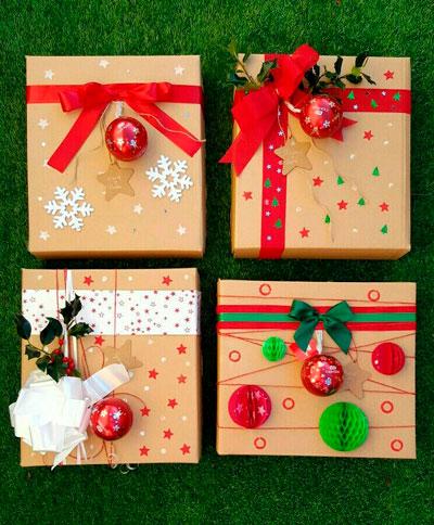 красиво упаковать подарки на Новый год 13