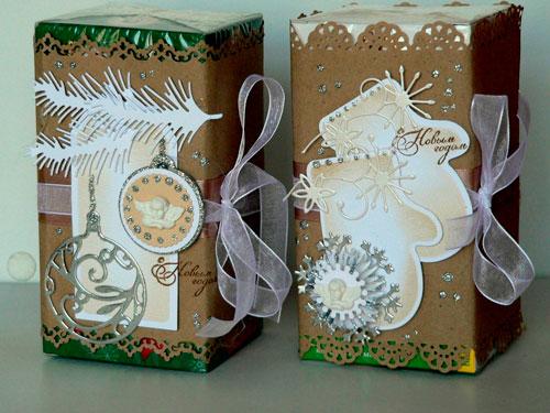 красиво упаковать подарки на Новый год 6