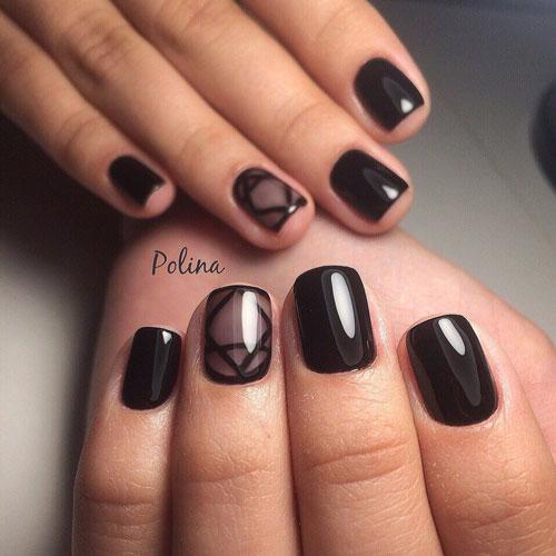 красивый маникюр в контрастных темных оттенках на короткие ногти 5