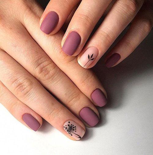 красивый матовый маникюр на короткие ногти 2