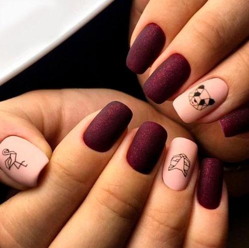красивый матовый маникюр на короткие ногти 5