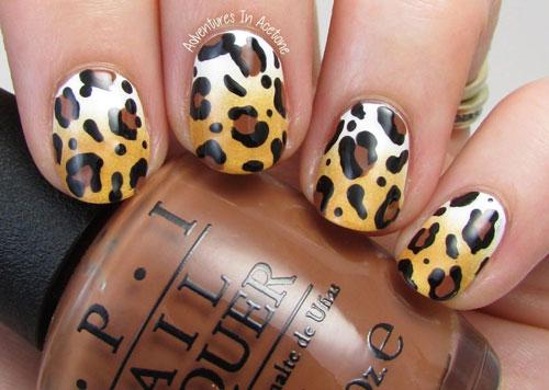 Леопардовый принт на короткие ногти 5