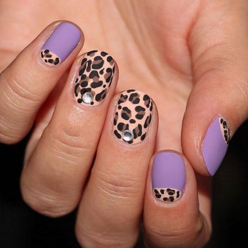 Леопардовый принт на короткие ногти 2