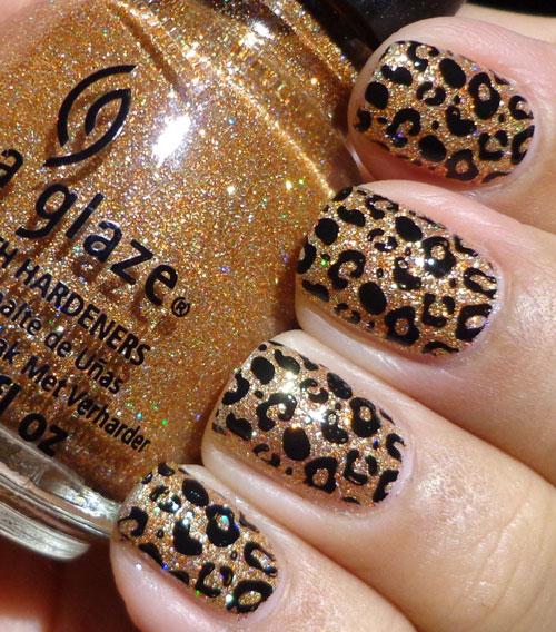 Леопардовый принт на короткие ногти 3
