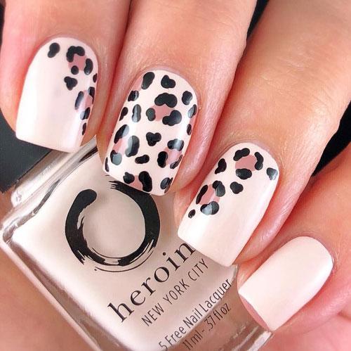 Леопардовый принт на короткие ногти 4