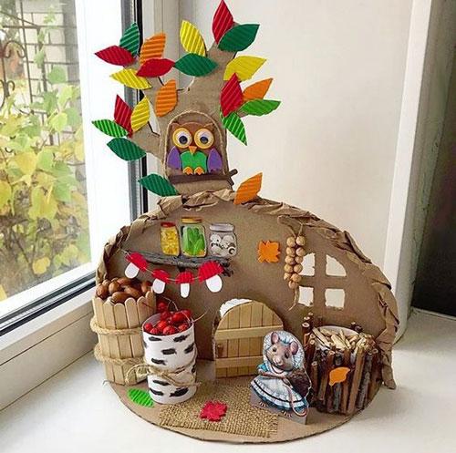 поделка домик на тему осень
