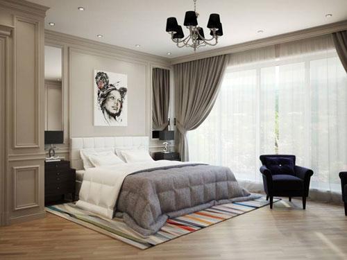 шторы в спальню в стиле модерн