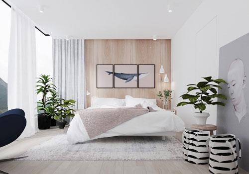спальни в стиле модерн в светлых тонах 12