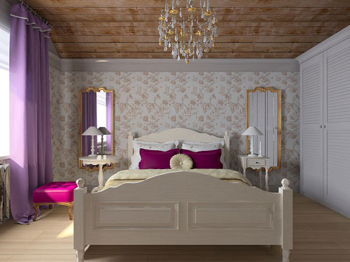 спальня в деревянном доме в стиле прованс 3