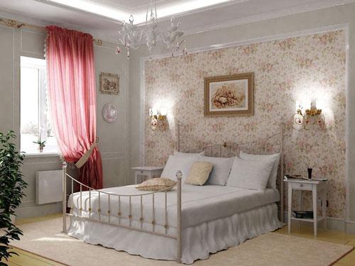 спальня в деревянном доме в стиле прованс