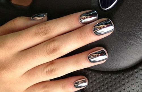 зеркальный маникюр на короткие ногти