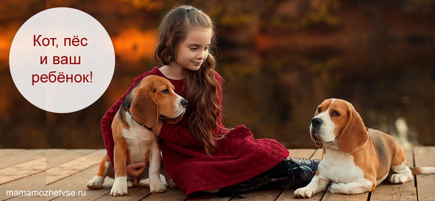 Девочка и две собачки