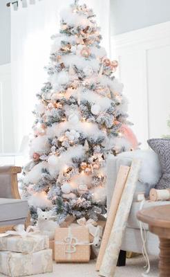 красиво украшенная елка в стиле металлик