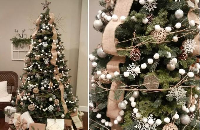 как красиво украсить елку в эко стиле 5