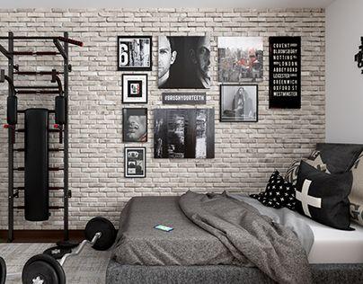 детская для подростка с кирпичной стеной
