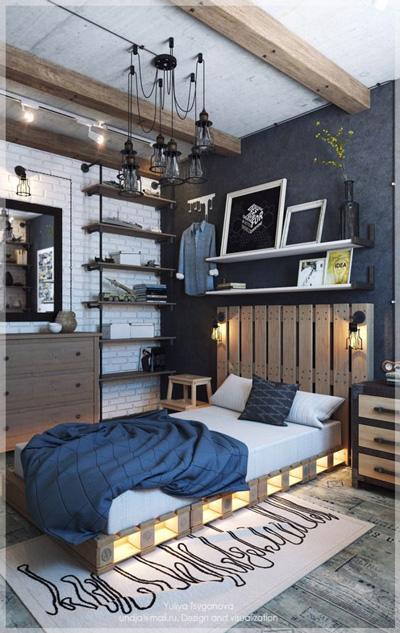 оформление комнаты подростка мальчика в современном стиле 5