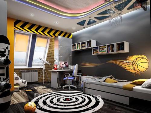 оформление комнаты подростка мальчика в современном стиле 7