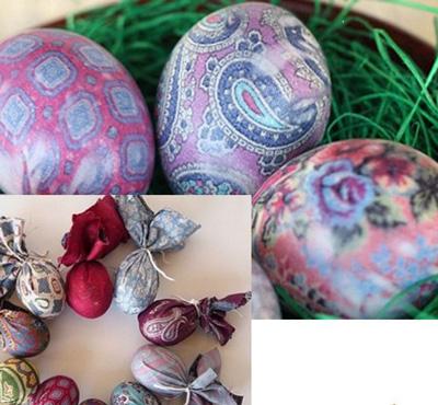 Как покрасить яйца с помощью шелка 2