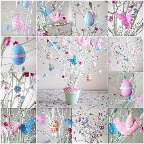 пасхальное дерево в розово-голубых цветах