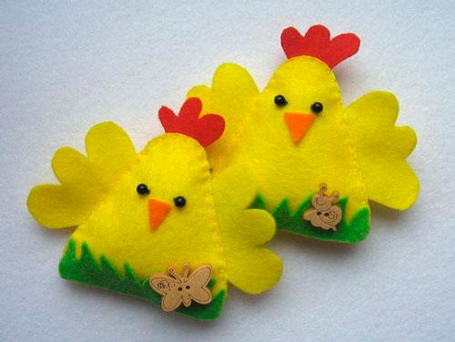поделки -цыплята на Пасху из фетра 2