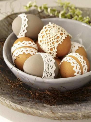 как украсить яйца кружевом на Пасху 2