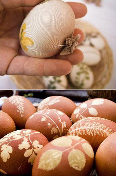 Покрасить яйца с помощью луковой шелухи и листьев 2