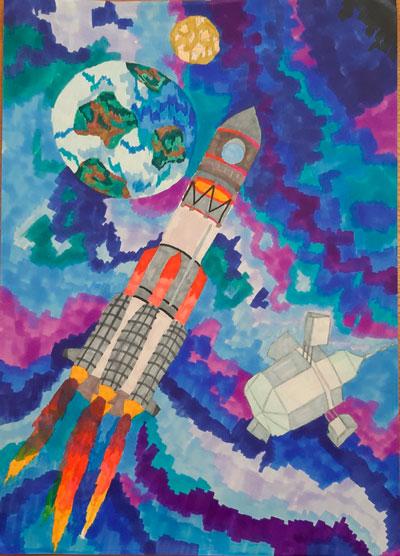 детские рисунки в космосе 3