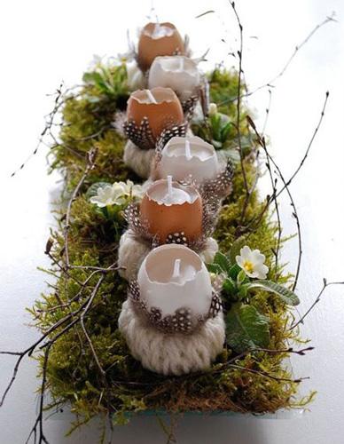 украшение стола пасхальными свечами