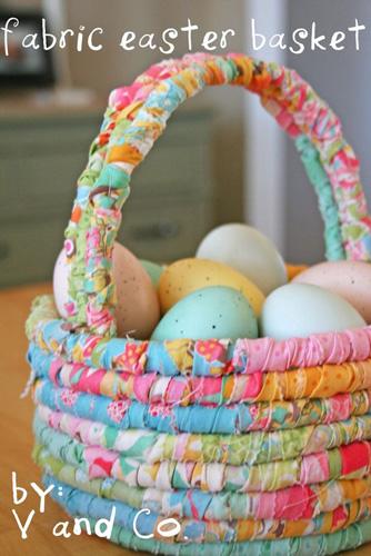 пасхальная корзинка для украшения дома с яйцами 2