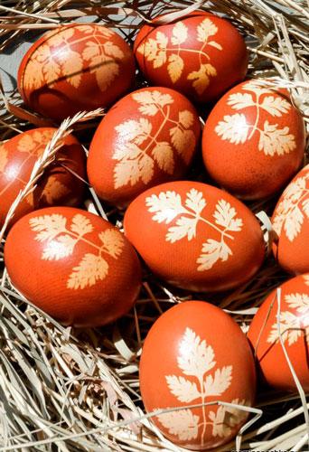 на Пасху покрасить яйца в луковой шелухе
