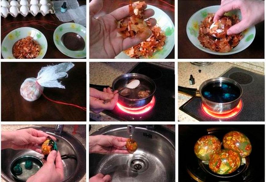 как покрасить яйца луковой шелухой в домашних условиях