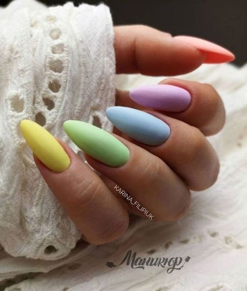 маникюр разноцветные ногти нежные