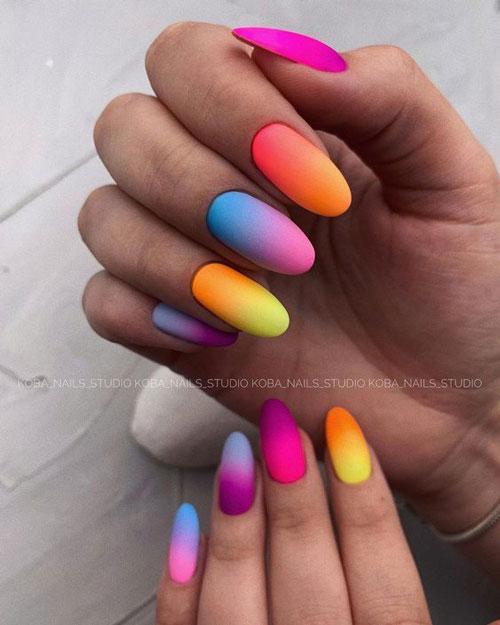 разноцветный маникюр +на коротких ногтях сочетание