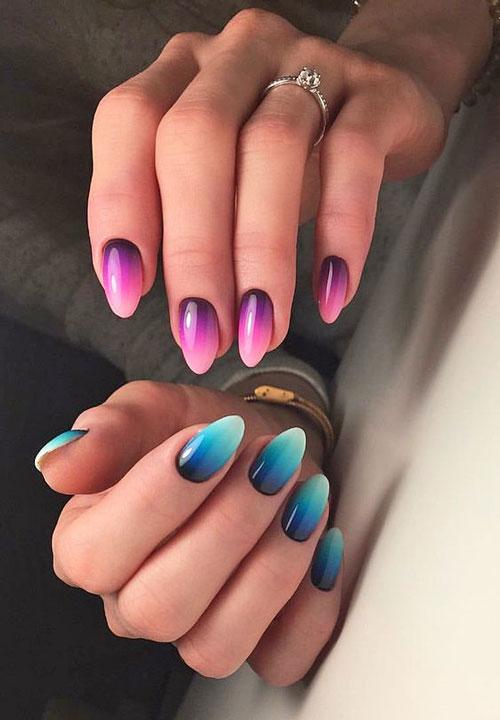разноцветный маникюр с блестками