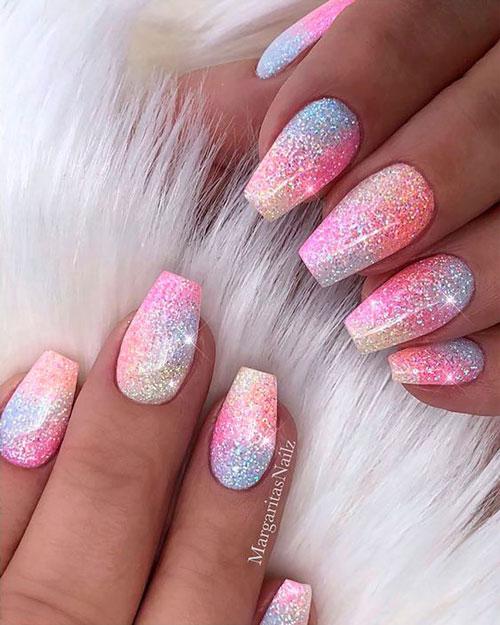 маникюр разноцветные ногти френч