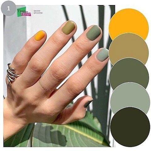 разноцветный маникюр на квадратные ногти