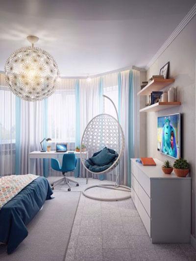 фото оформления спальни подростка в современном стиле