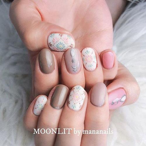 маникюр на короткие ногти нежные разноцветные