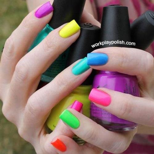 разноцветный маникюр сочетание цветов на короткие ногти