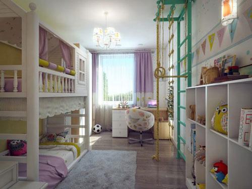 зонирование комнаты на спальню и детскую